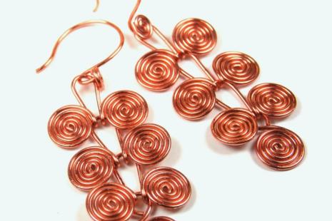 Copper Egyptian Coils Dangle Earrings