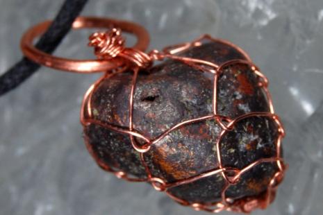 Purple Copper Nugget Netted Pendant