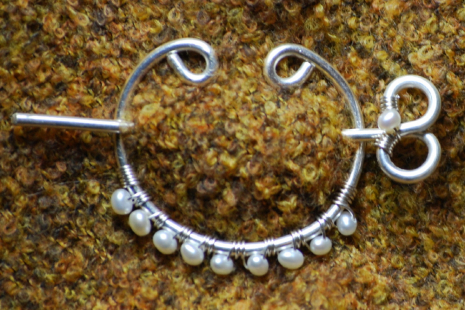 Shawl Pin of Fine (Pure) Silver and Pearls