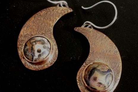 Handcrafted Copper Earrings with Leopardskin Jasper