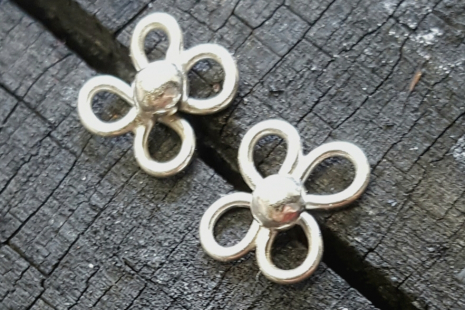 Petite Sterling Dogwood Flower Post Earrings
