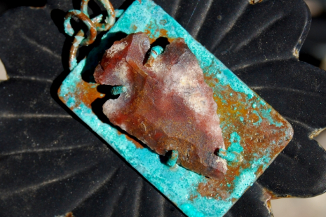 Copper prong-set fancy jasper arrowhead