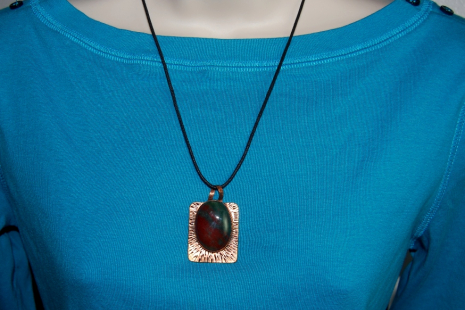 Natural Bloodstone Copper Pendant Necklace Handmade