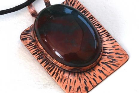 Copper Bloodstone Pendant Necklace
