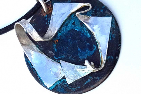Rainbow-colors Copper Disk with Sterling accents