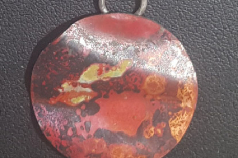 Colorful Copper Disk Pendant Necklace