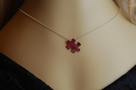 Red Copper Puzzle Pendant with Sterling Chain Necklace