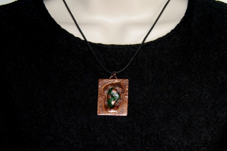 Layered copper with green sea glass pendant