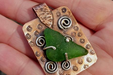 Northern California Sea Glass Antiqued Copper Pendant