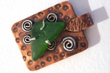 Green Sea Glass Copper Pendant Sterling Spirals