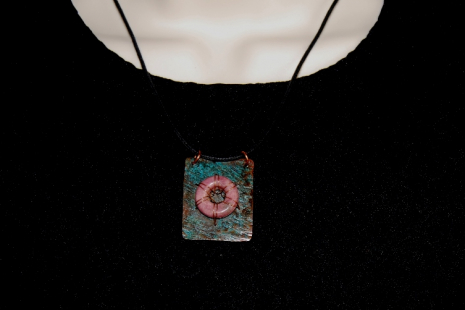 Pink Rhodonite Turquoise Green Rustic Copper Necklace