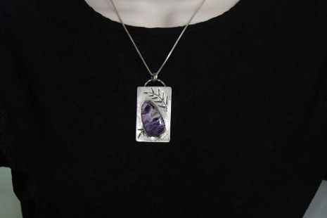 Amethyst Sterling Silver Pendant with Fern