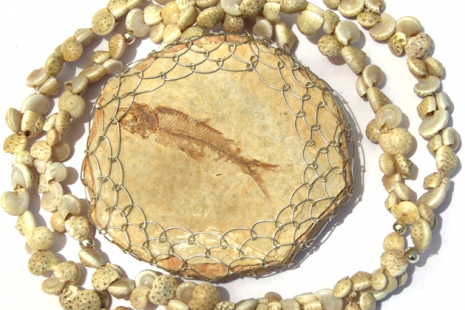 Fossil Fish Pendant with Shell Necklace Handmade