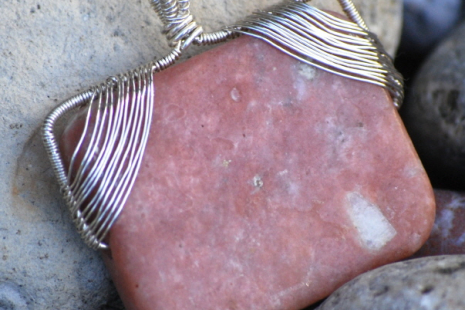 Pink Lepidolite and Silver Pendant