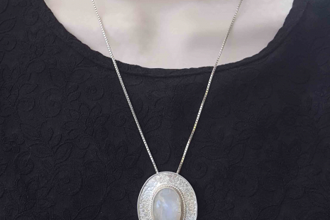 Moonstone Blue Flash Sterling Silver Pendant Handmade