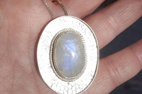 Natural Moonstone Pendant Handcrafted in Sterling Silver