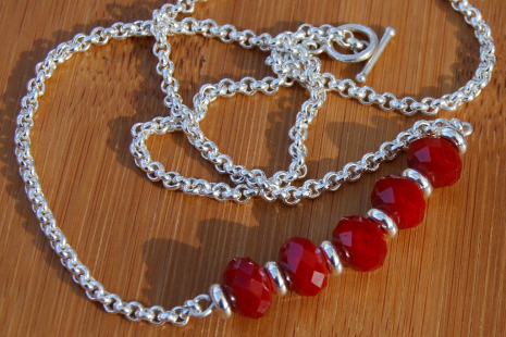 Handcrafted minimalist red quartz stack sterling silver necklace