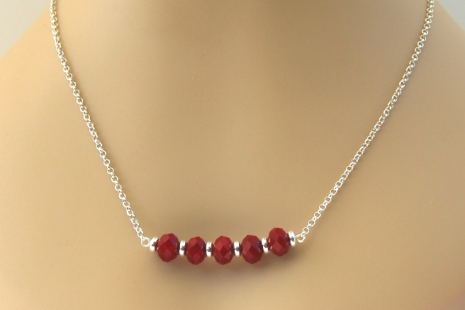 Minimalist red quartz bar neckace