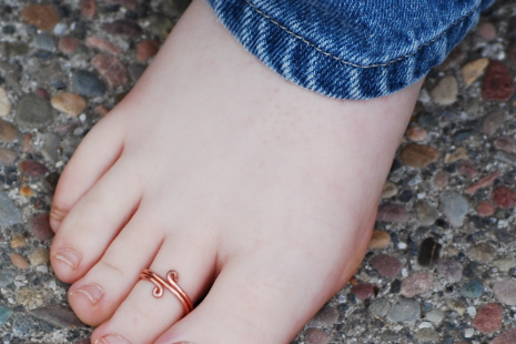 Adjustable Wide Copper Toe Ring Handcrafted
