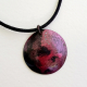 Handcrafted Red Black Copper Disk Pendant Necklace