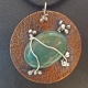 Green Fancy Jasper Copper Pendant Sterling Vines Berries