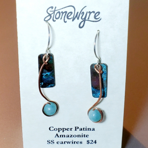 Copper Earrings with Green Amazonite