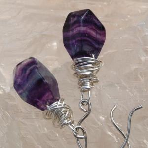 Fluorite Striped Sterling Silver Earrings