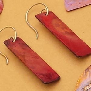 Handcrafted minimalist red copper earrings