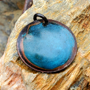 Handcrafted Teal Turquoise Copper Pendant