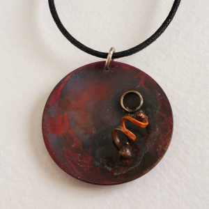 Rustic Red Copper Disk Pendant Steampunk Accents
