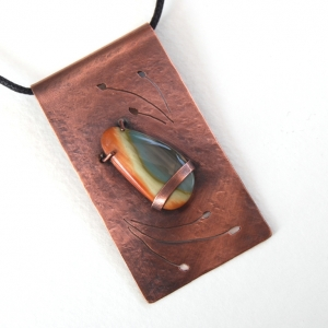 Royal Imperial Jasper on Pierced Copper Pendant Necklace