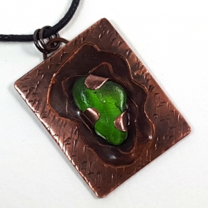 Handcrafted copper and green sea glass pendant