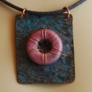 Rhodonite and Copper Pendant Necklace