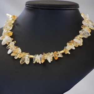 Yellow Citrine with Gold Strand Necklace Choker