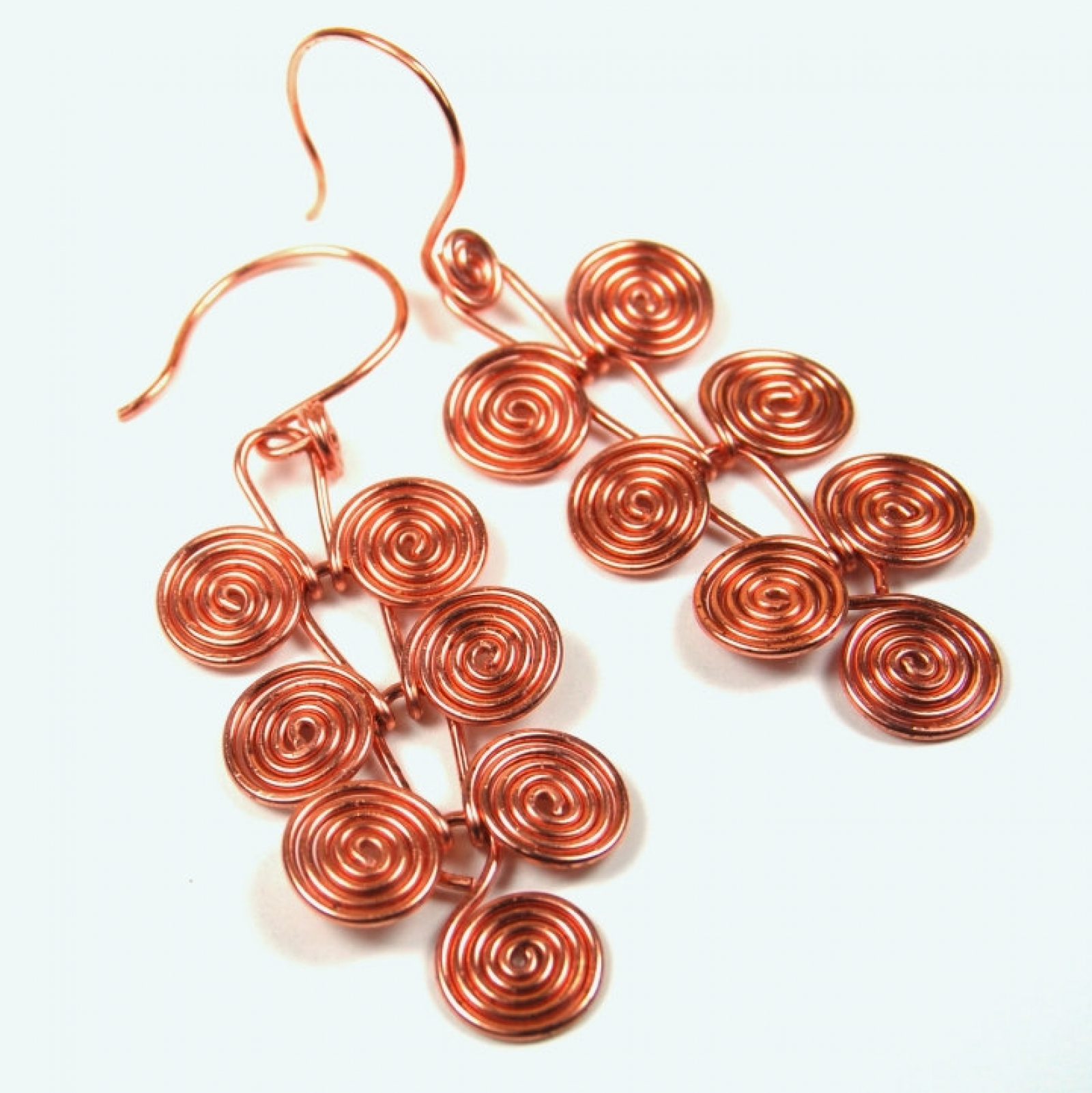 Copper Earrings Egyptian Coils Dangle Handcrafted Macedonian Spirals