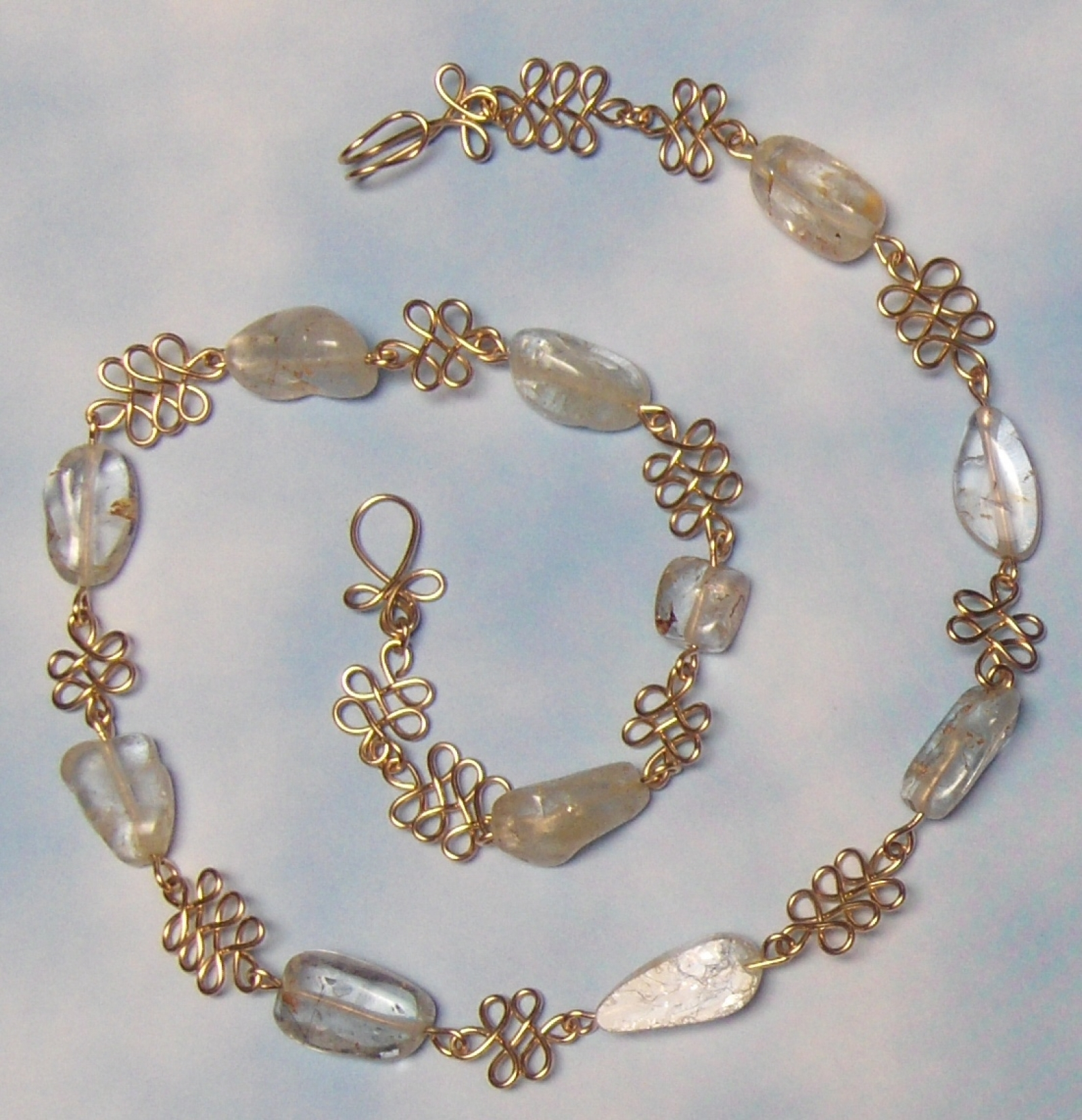 White Topaz Nuggets with Gold-Filled Handcrafted Wire Link Necklace ...