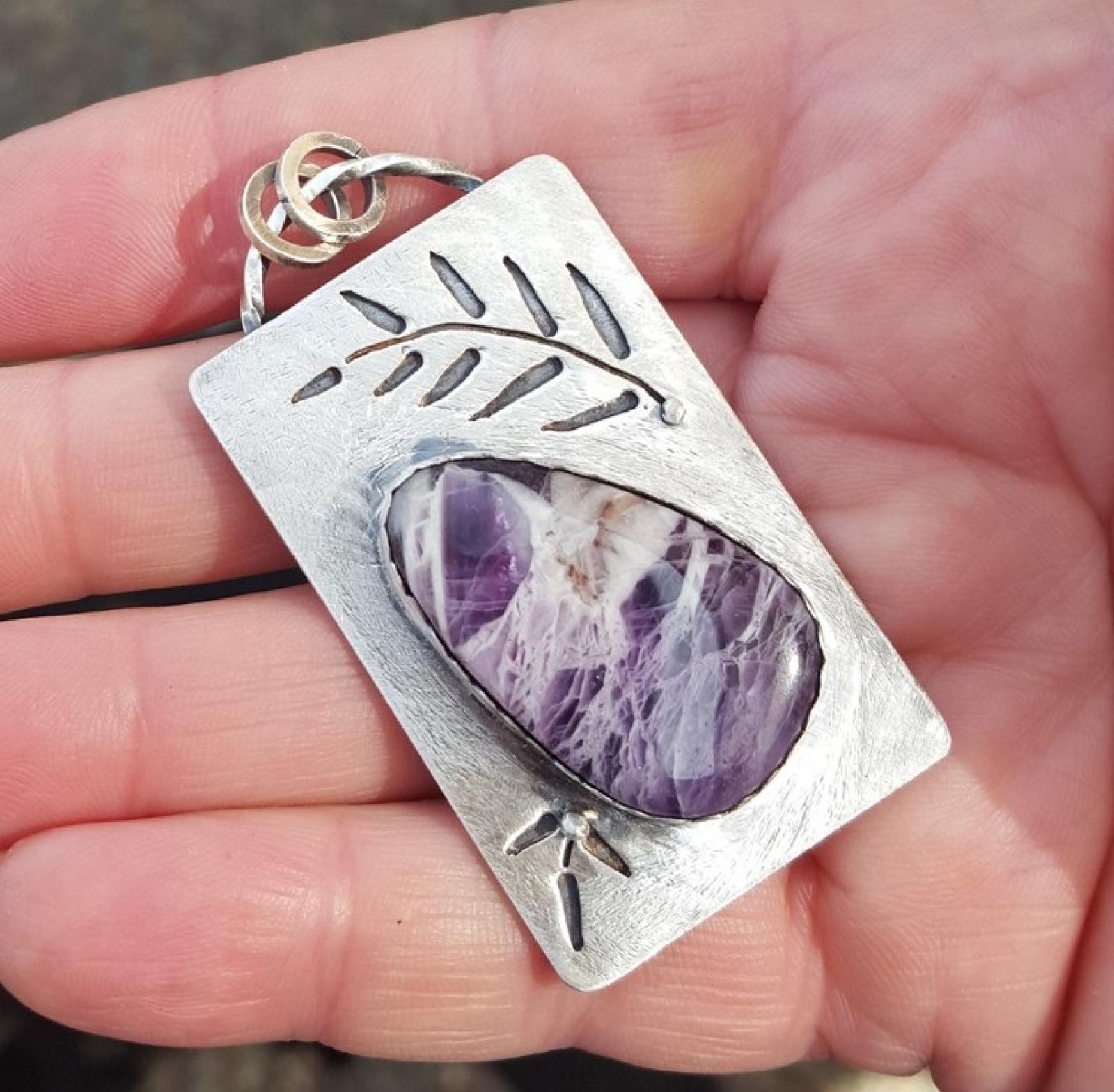 Amethyst teardrop sterling pendant cut fern stonewyre amethyst sterling silver pendant with fern aloadofball Gallery