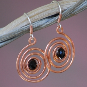 SALE Copper Earrings Black Agate Wire Wrapped Hammered Coil