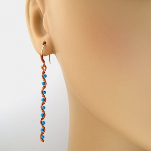 Blue Turquoise Hammered Copper Earrings Long Dangles Handcrafted