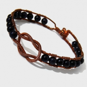 SALE Copper Cuff Wire Wrapped Blue Goldstone Loveknot Copper Bracelet