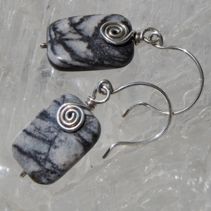 Picasso Jasper Earrings Black Line Jasper Sterling Silver Stone Black Stone Dangle Earrings