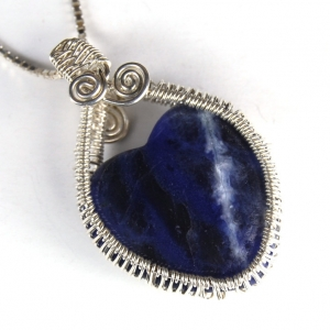 SALE Blue Sodalite Heart Pendant Wire Wrapped Necklace