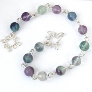 Fluorite Bracelet Handcrafted Sterling Silver Wire Wrapped Purple Green