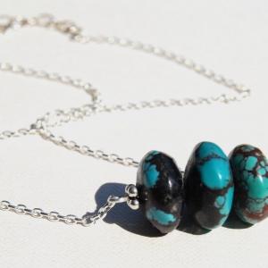 Hubei Turquoise Stacked Bar Necklace Genuine Blue Black