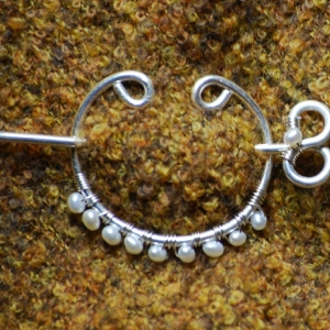 Fine Silver Shawl Pin with Pearls