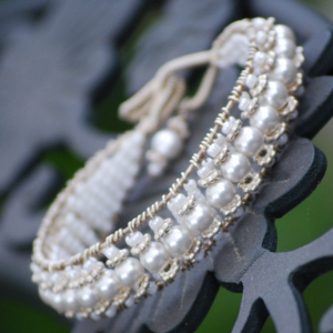Sterling and White Pearl Cuff Wire Wrapped Bracelet