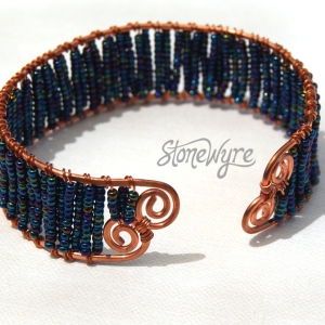 SALE! Blue Cuff Bracelet Wire Wrapped Copper Waves Coils Handcrafted Beaded Rainbow Cuff