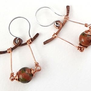 Handcrafted Swing Copper Earrings with Unakite Asian Inspired