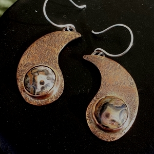 SOLD Hammered Paisley Teardrop Copper Earrings with Leopardskin Jasper Handcrafted