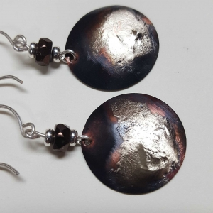 Handcrafted Patinaed Copper with Sterling Accent Earrings
